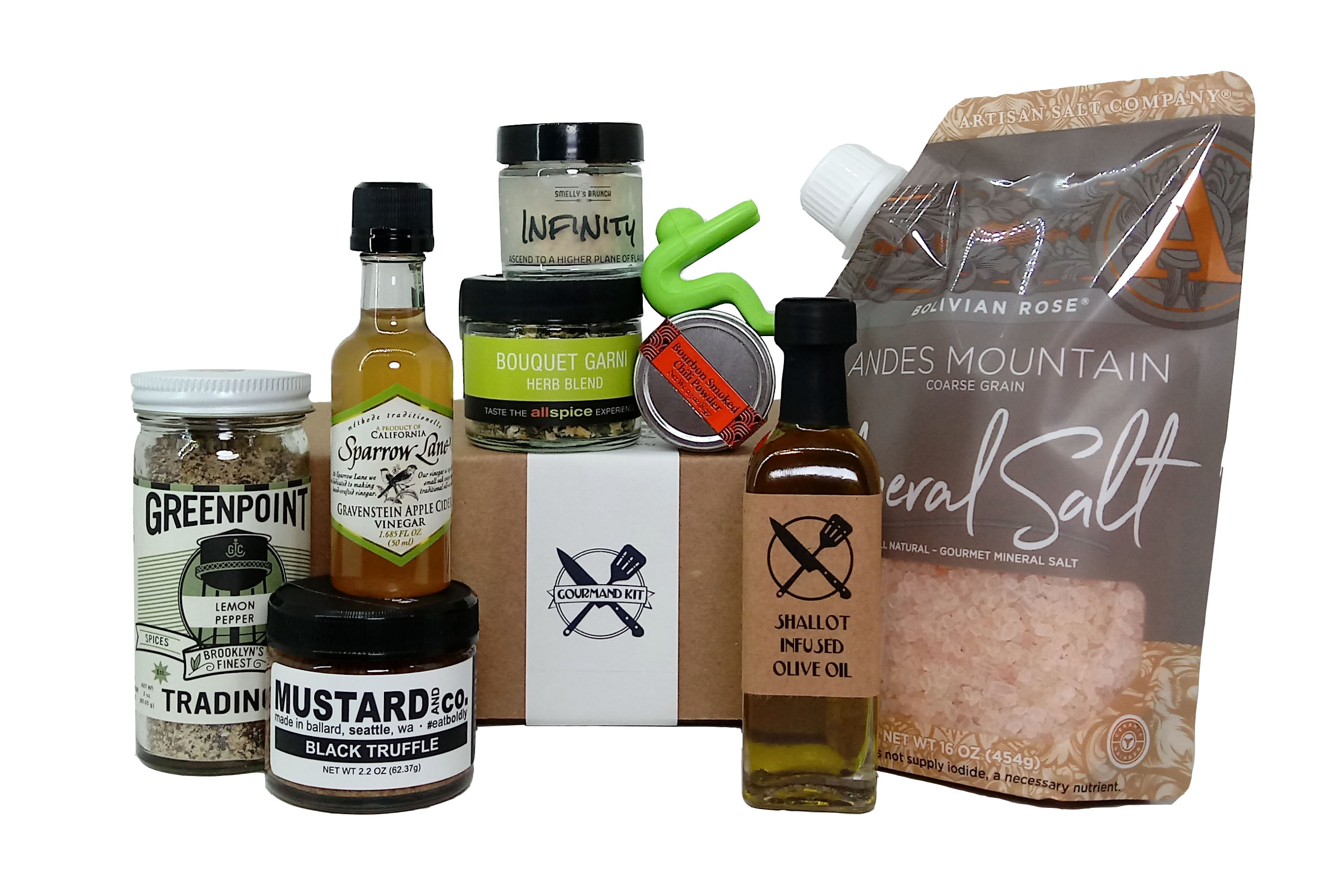 A cooking gift box surrounded by all the ingredients included