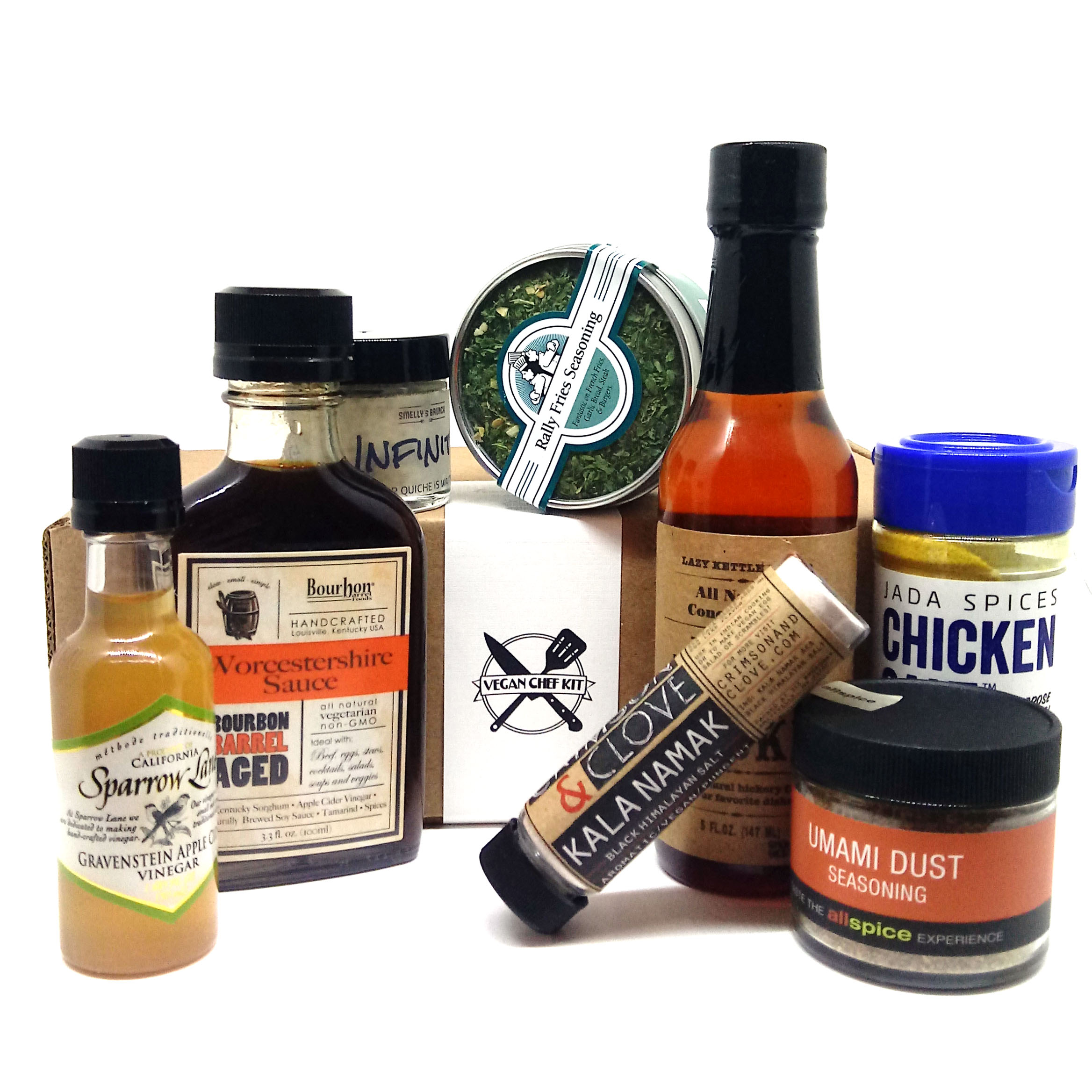 Vegan cooking ingredients in front of a gift box