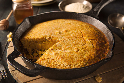 Cornrbread in a cast iron skillet